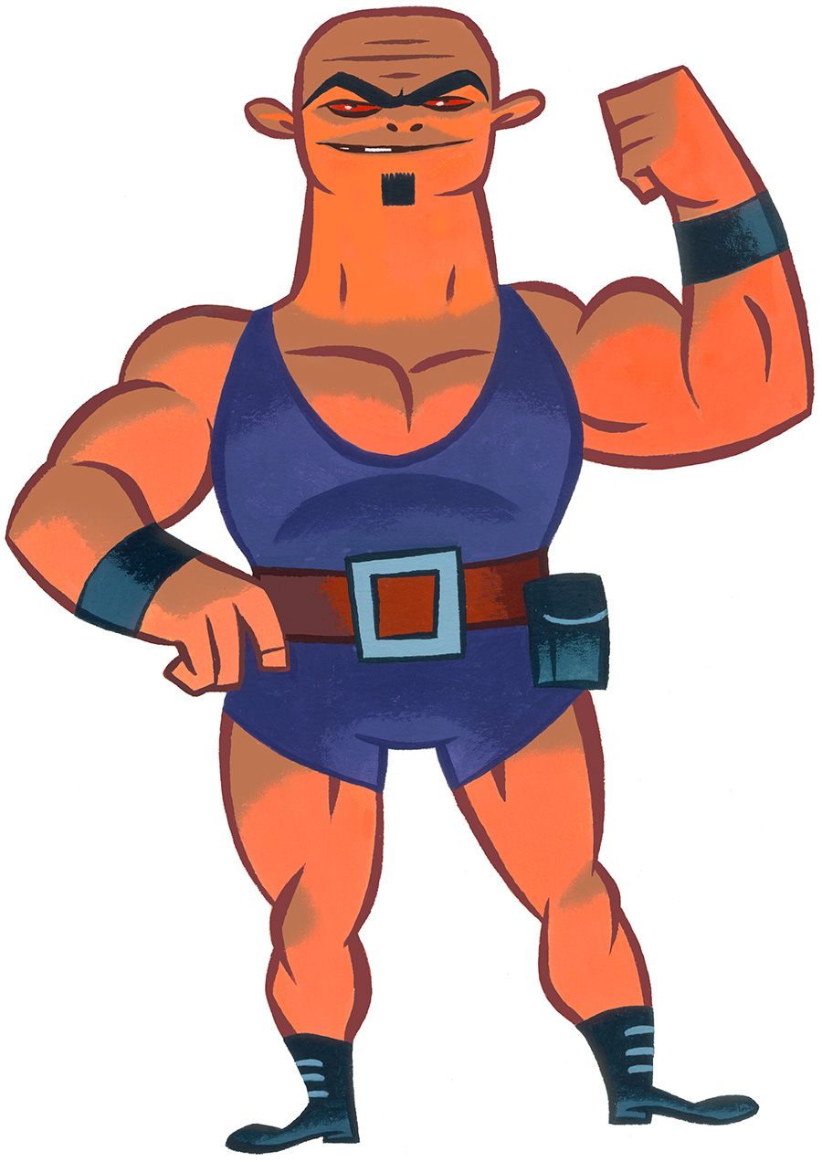 Deadly orange super villain wrestler