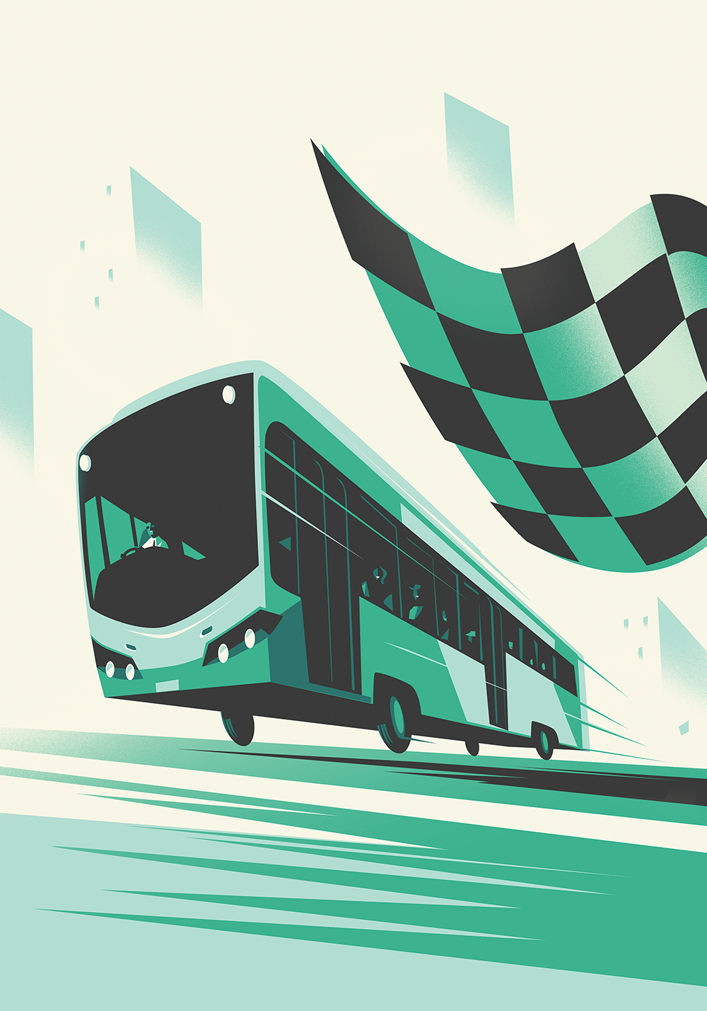 Bus and Checkered Flag deco poster illustration-Dean Gorissen.jpg