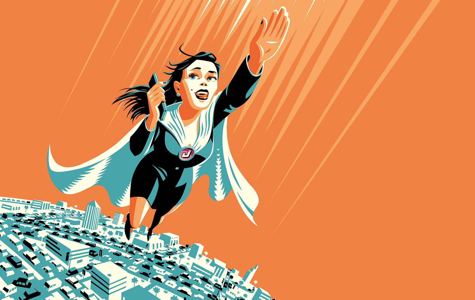 Commuter Superhero flies above city-Dean Gorissen Illustration.jpg