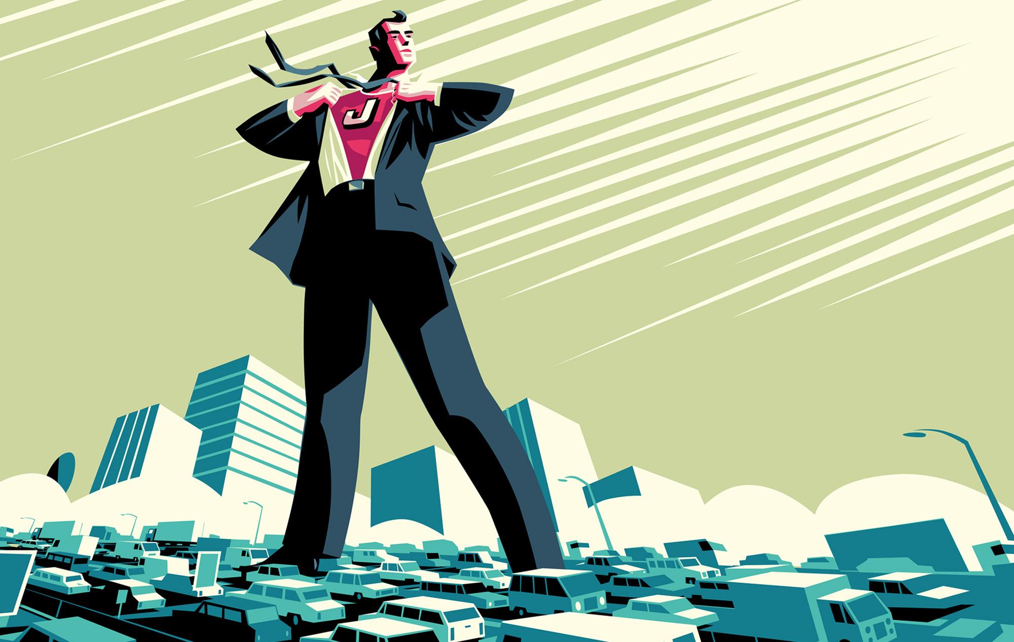 Commuter Superhero stands astride city-Dean Gorissen Illustration.jpg