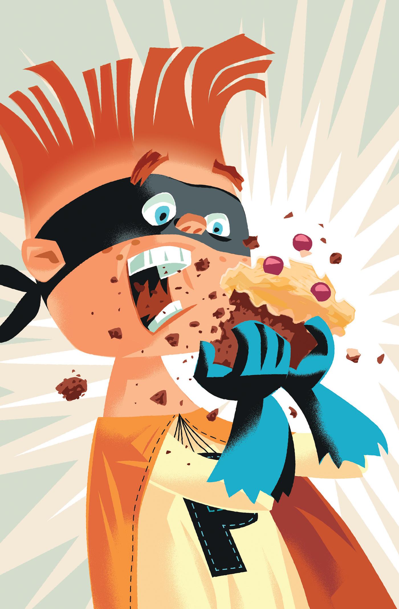 Superhero kid eating cake-Dean Gorissen Illustration.jpg