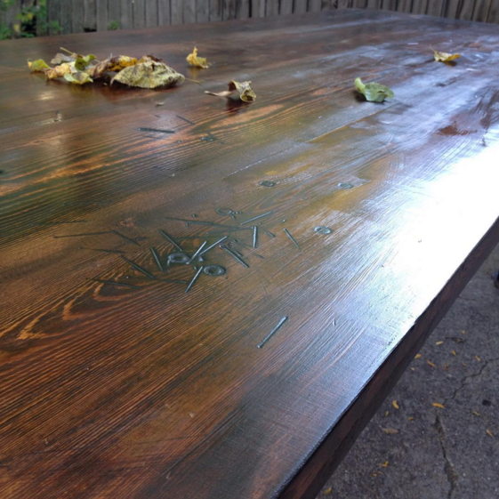 Hardware Fire Finish with a custom mixed stain, as seen in July 2017 Olive Garden Commercial.