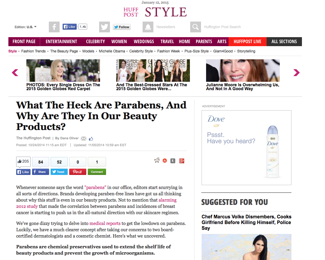 What the Heck Are Parabens, And Why Are They In Our Beauty Products?   Oct 24, 2014
