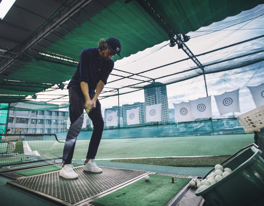 Antoine practicing some golf at the rooftop of TBWA's building.