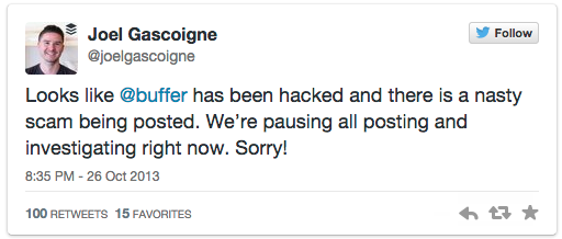 CEO of Buffer kept followers informed about ahackon their platform in 2013.