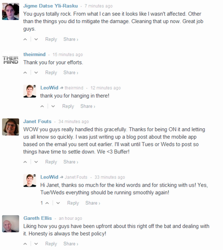 Example of continual engagement andbeing informativeto everyone, including users not affected.