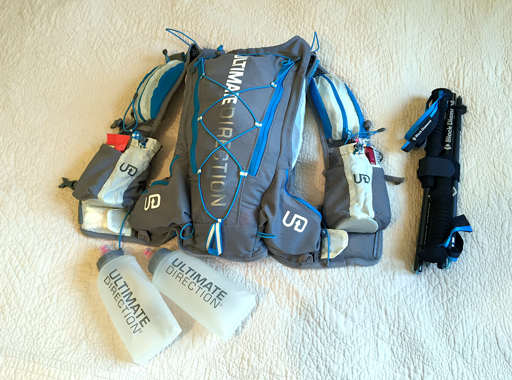 The fully packed race vest and my precious trekking poles from Black Diamond