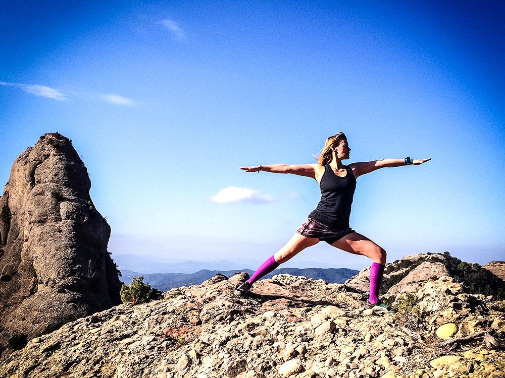 Vi yogade inte bara hemma innan frukost, utan även på bergstopparna!