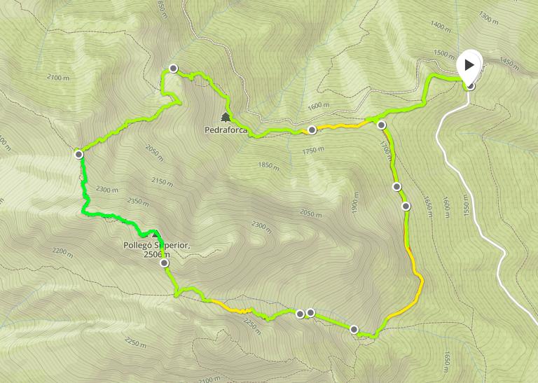 Turen upp på Pedraforca blev ca 10 km och drygt 1000 höjdmeter.