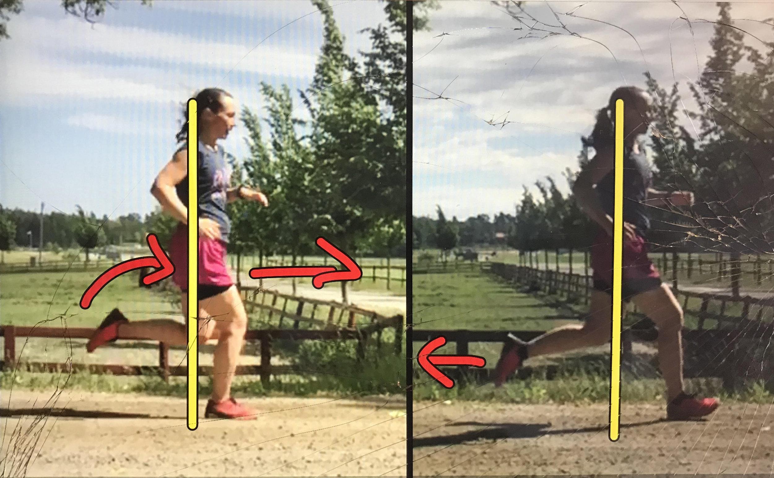 Till höger före vår utbildning.  Man ser att foten landar för långt framför kroppen och det bakre benets kraft är mer riktad bakåt än uppåt.   På vänstra bilden ca 2 timmar senare efter utbildning  och diverse praktiska övningar. Det är skillnad! Foten landar mycket mer under kroppen och det bakre benets kraft hjälper till att driva kroppen framåt.
