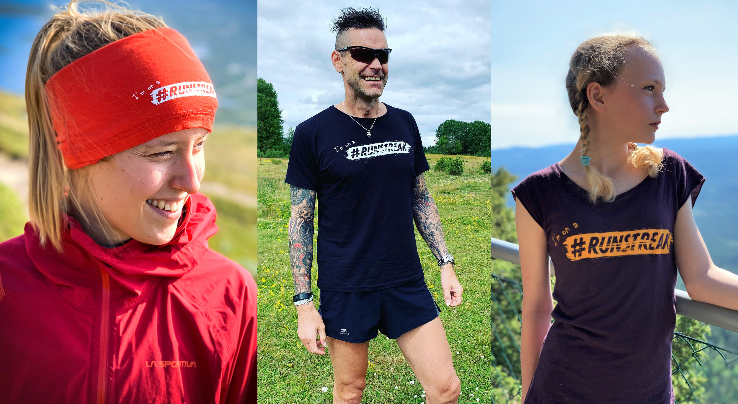 """Köp vår snygga headover (buff) och t-shirt med trycket """"!'m on a #RUNSTREAK"""" i shoppen >"""