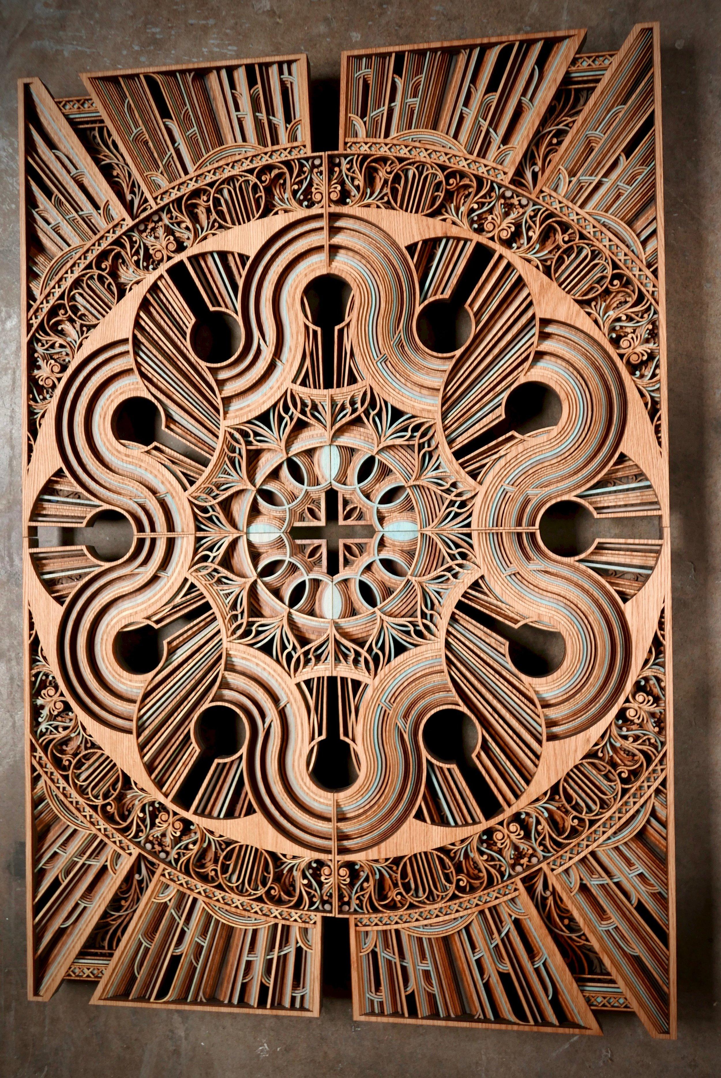 """AUTOPHAGY    62"""" x 42"""" red oak plywood 2017"""