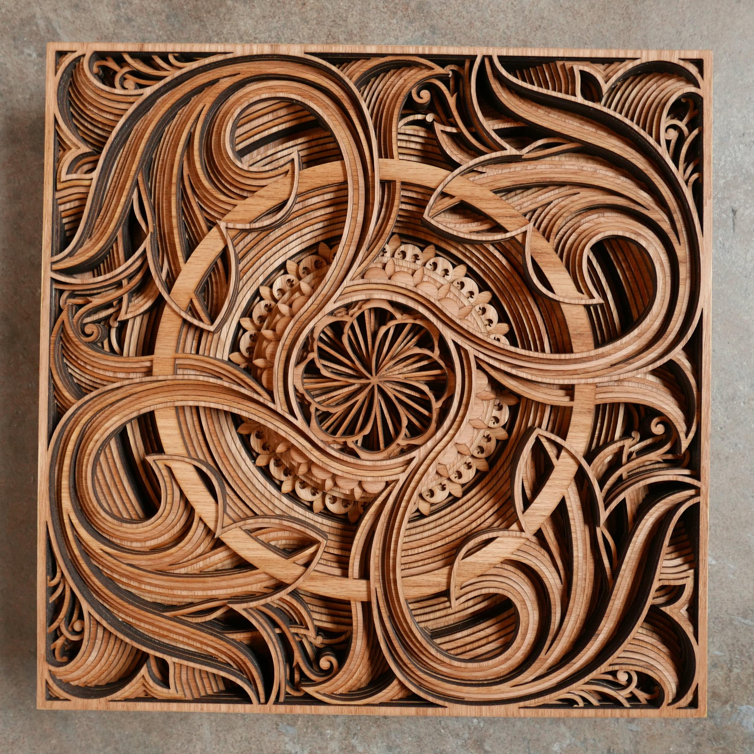 "DEMETER    17"" x 17"" red oak plywood 2017"