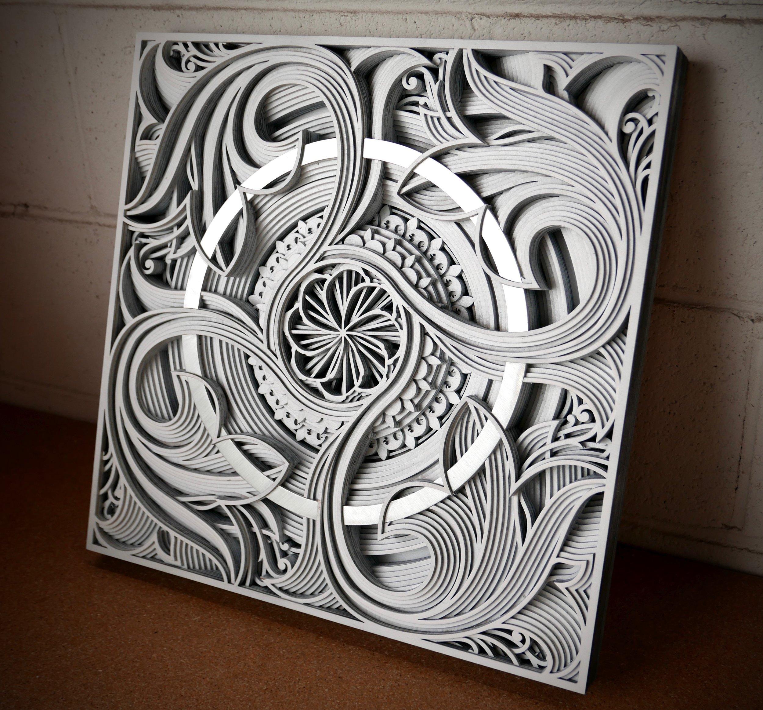 "DEMETER (artist proof)    17"" x 17"" plywood, aluminum, paint 2017"