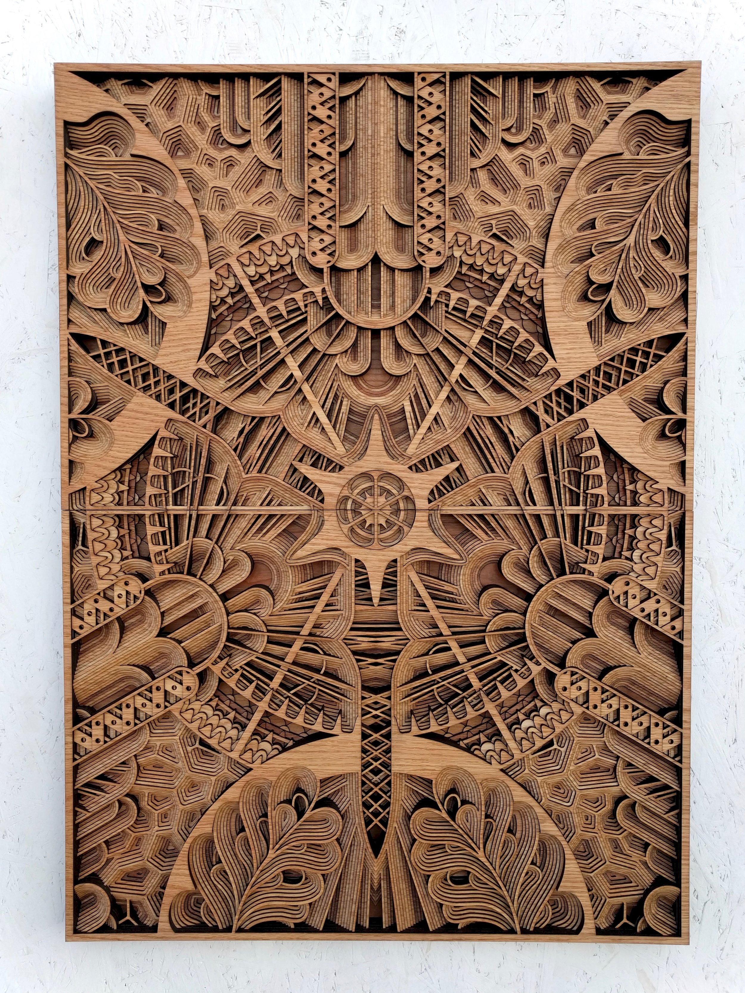 """AFTER HAECKEL    42"""" x 31"""" red oak plywood, 2016"""