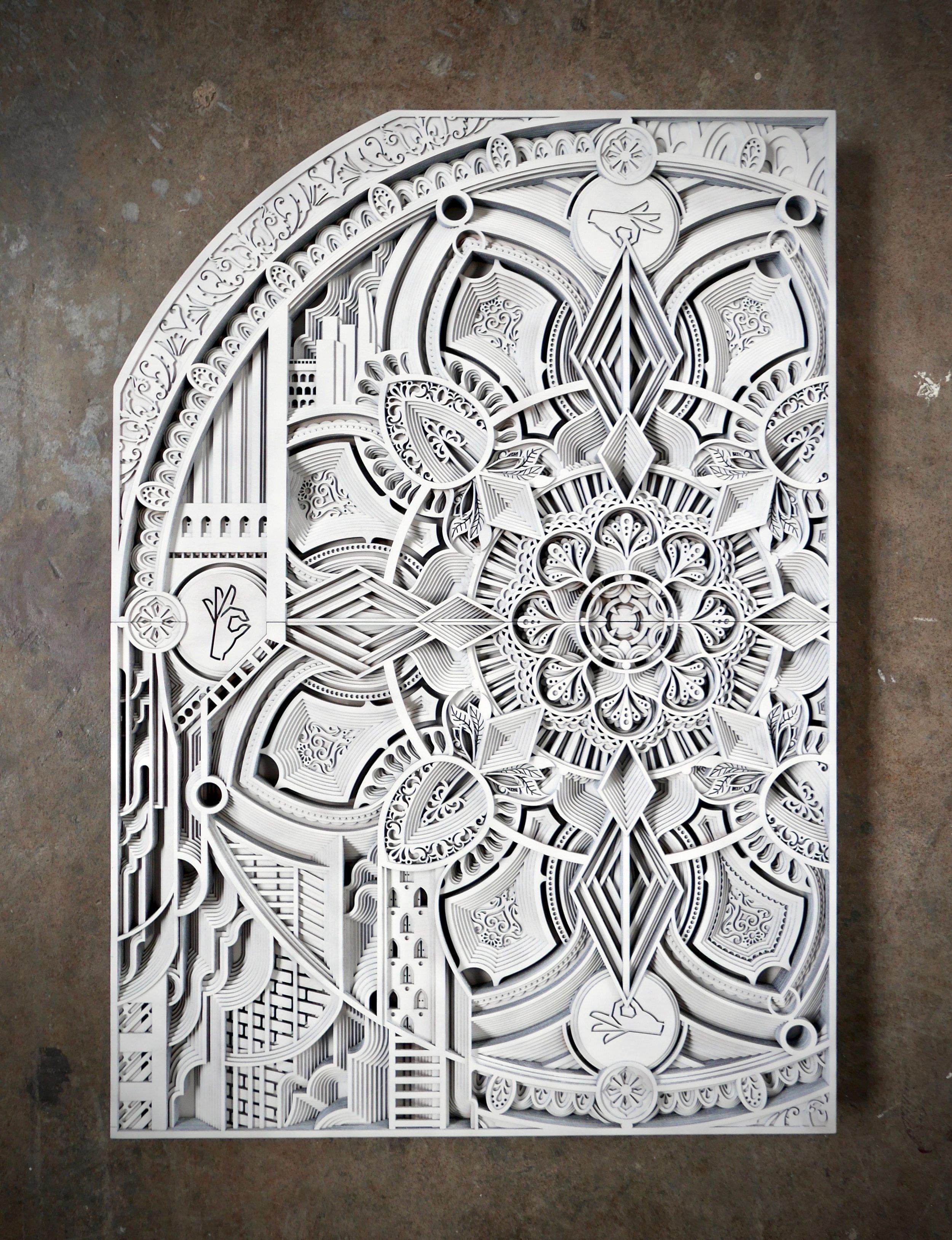 "WHITE IRON CITY   42"" x 31"" plywood, paint, 2017"