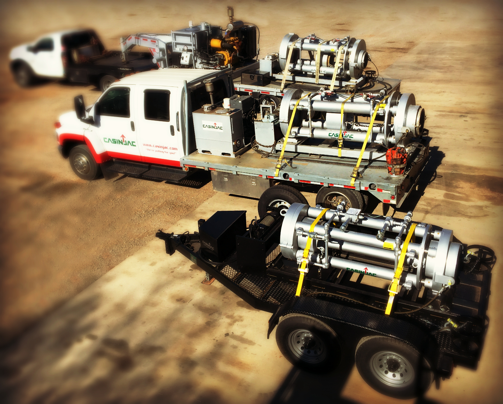 We have the right model casing jack paired with the right hydraulic power unit and delivery system to get our customers out of a bind. Pictured here is only part of Casinjac's field service capability.