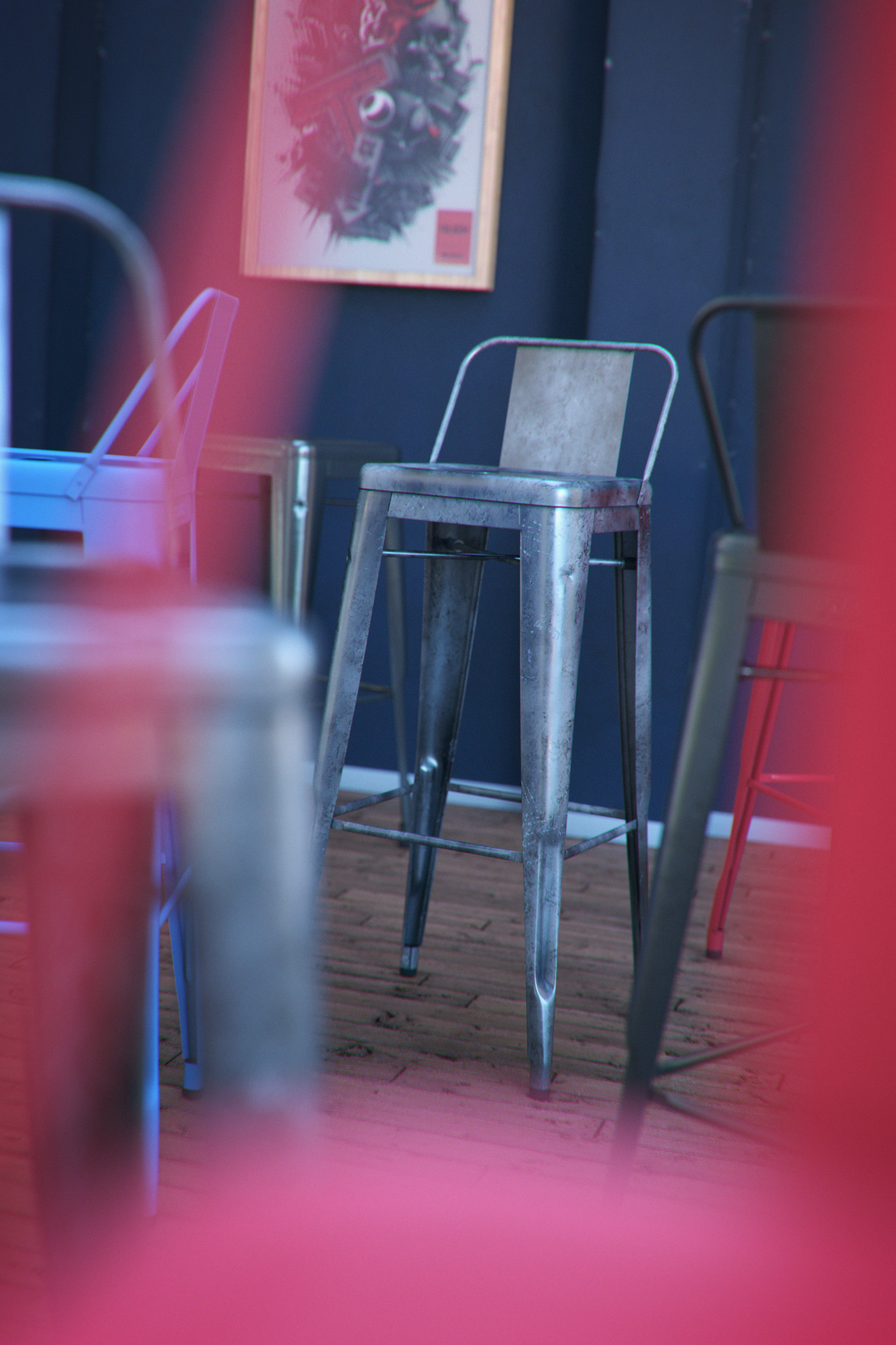 TOLIX H STOOLS - Modeling, texturing and rendering in cinema 4d (Octane render) - post-production with After Effects