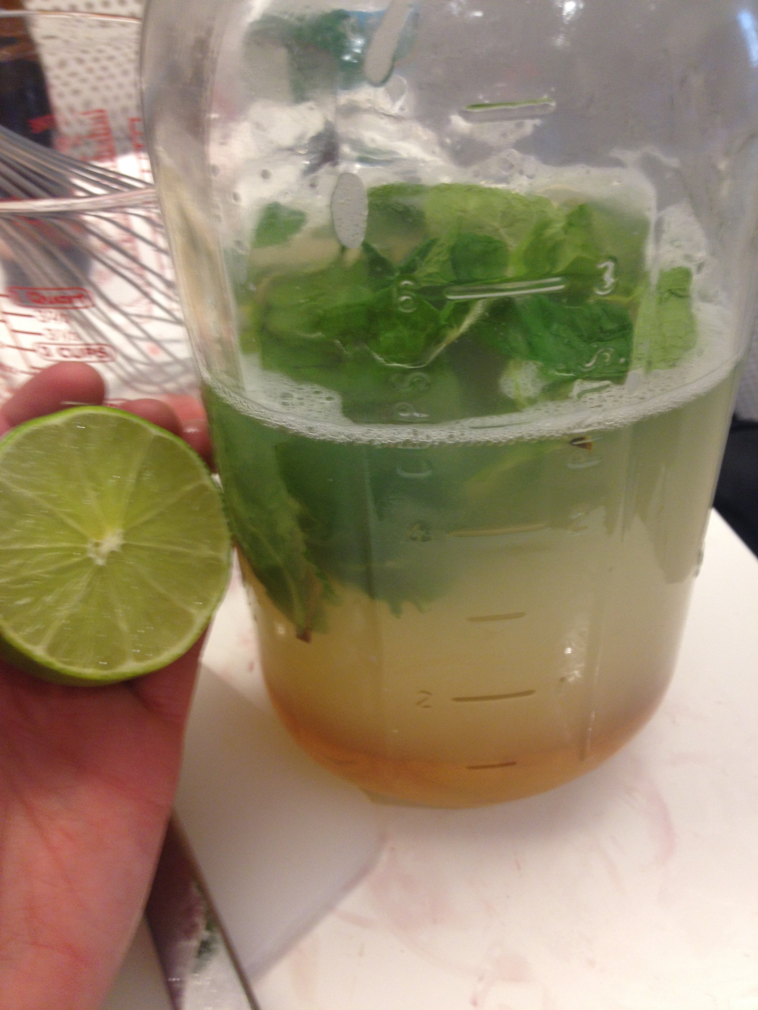 Pre-batching the Number 81 (gin drink). Notice how all of the ingredients separate into layers based on density! Honey on the bottom, gin in the middle, fresh pressed lime juice at the top along with the fresh mint.