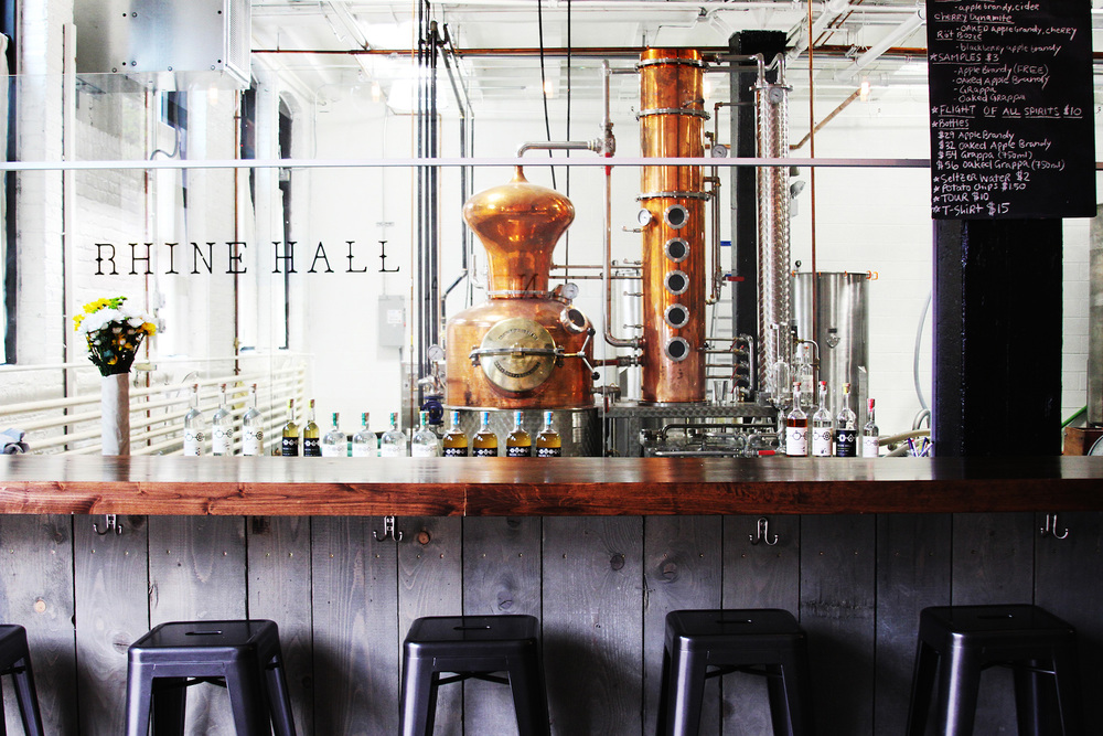 Rhine Hall's gorgeous distillery, bar in the foreground.