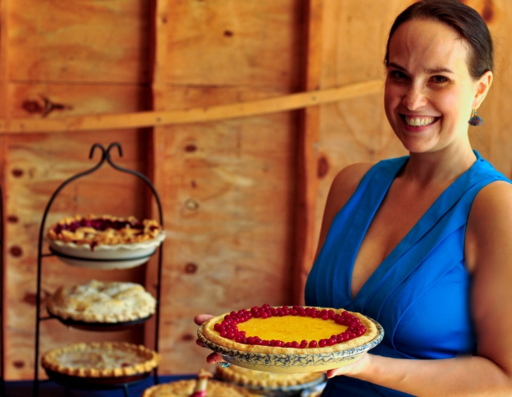 Sarah Mallin and her gorgeous pies, photo courtesy of Pyrite Sun