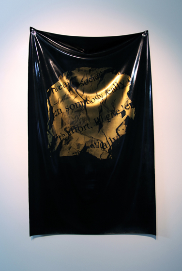Because society tells me (as Tarantino said) Silkscreen on latex  27 x 35 inches 2014