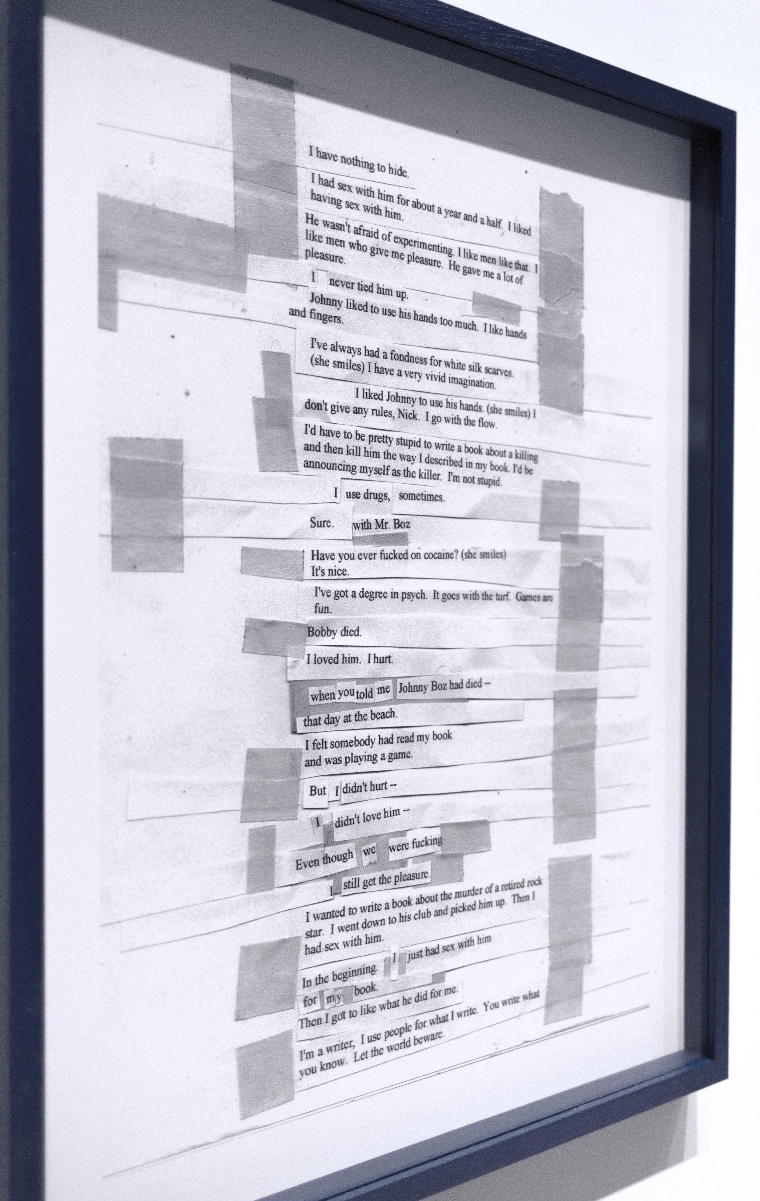 Script (Monologue Basic Instinct). Inkjet on paper. 2018. 70 x 50 cm. Photo @MaiteArberas