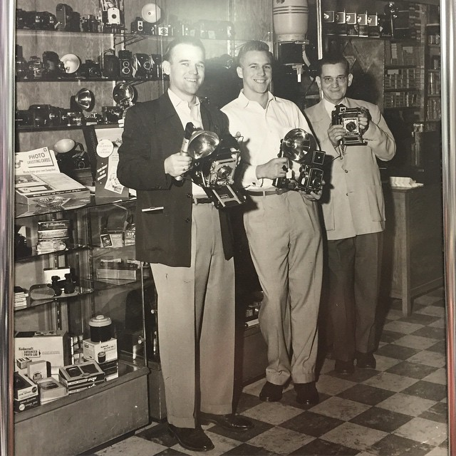 My grandfather and great grandfather and friend at Patterson's Camera, in Tarkana, Texas, circa 1950