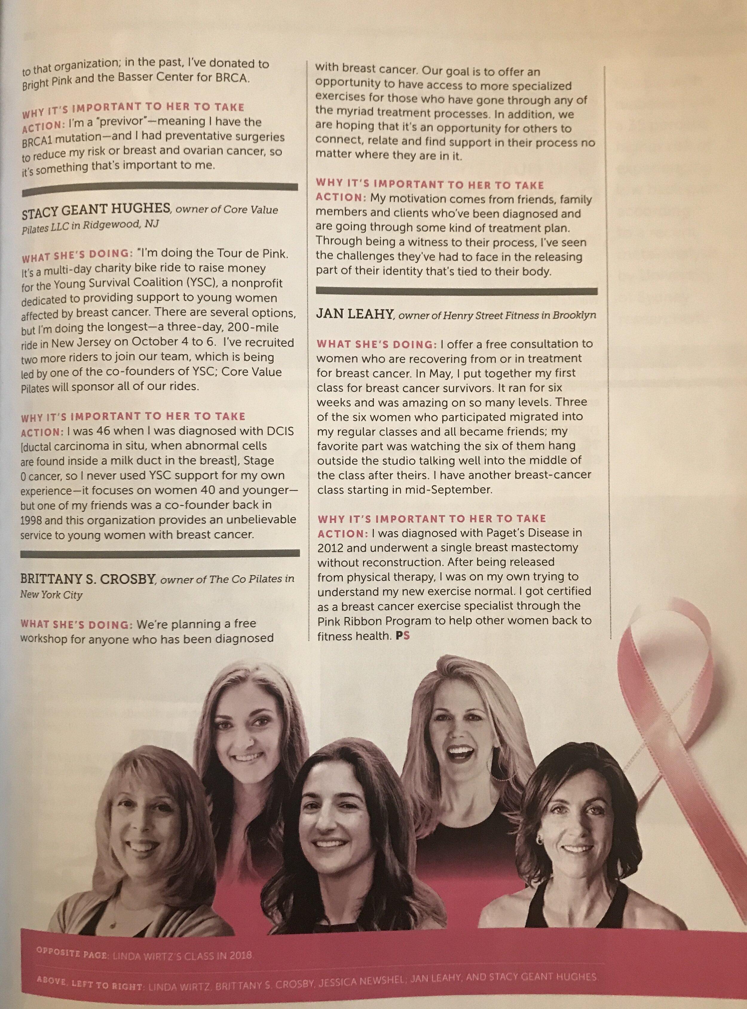 pilates style magazine breast cancer