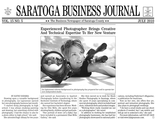 Liz Lajeunesse Photography in Saratoga Business Journal
