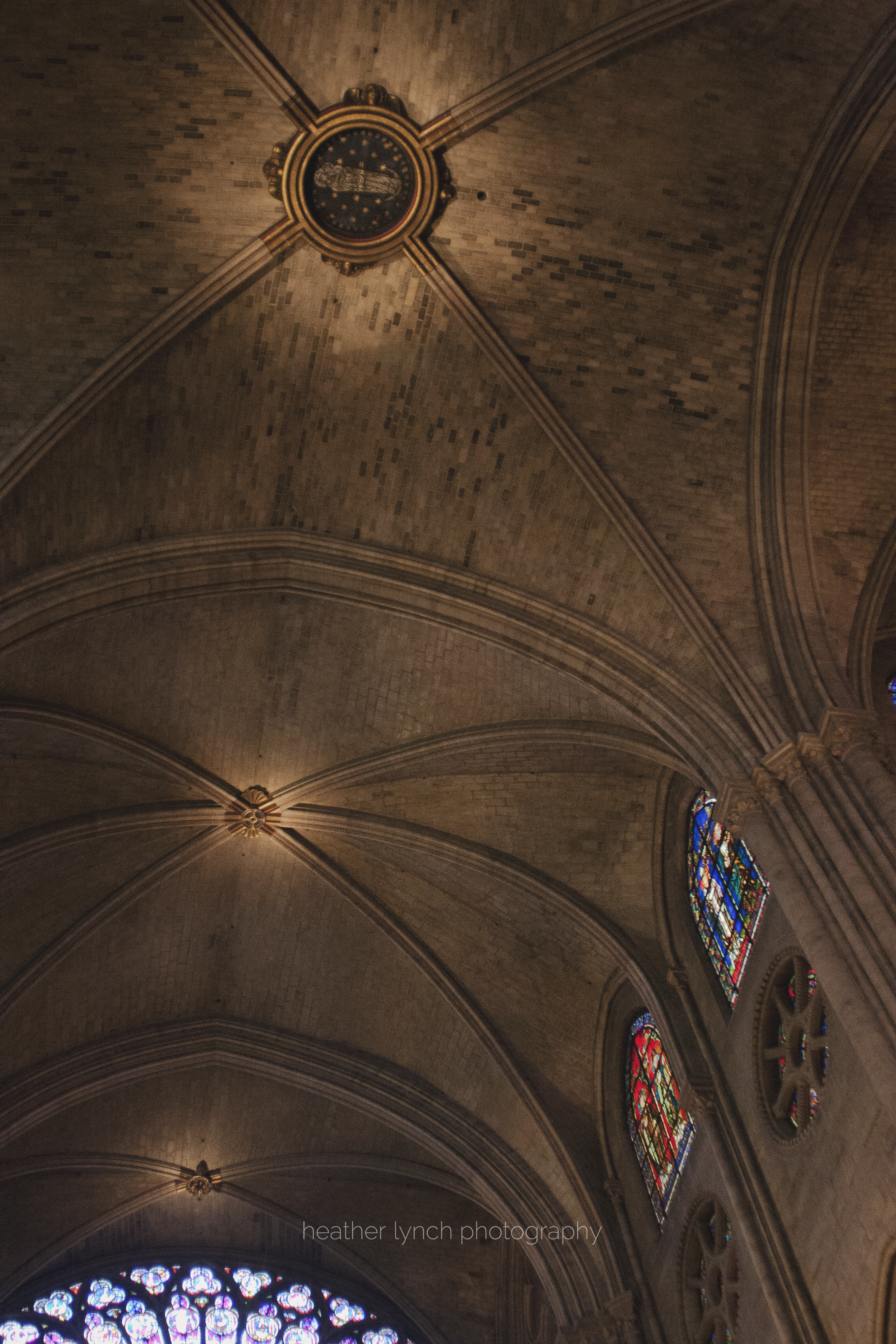 Interior of Notre Dame, vaulting.