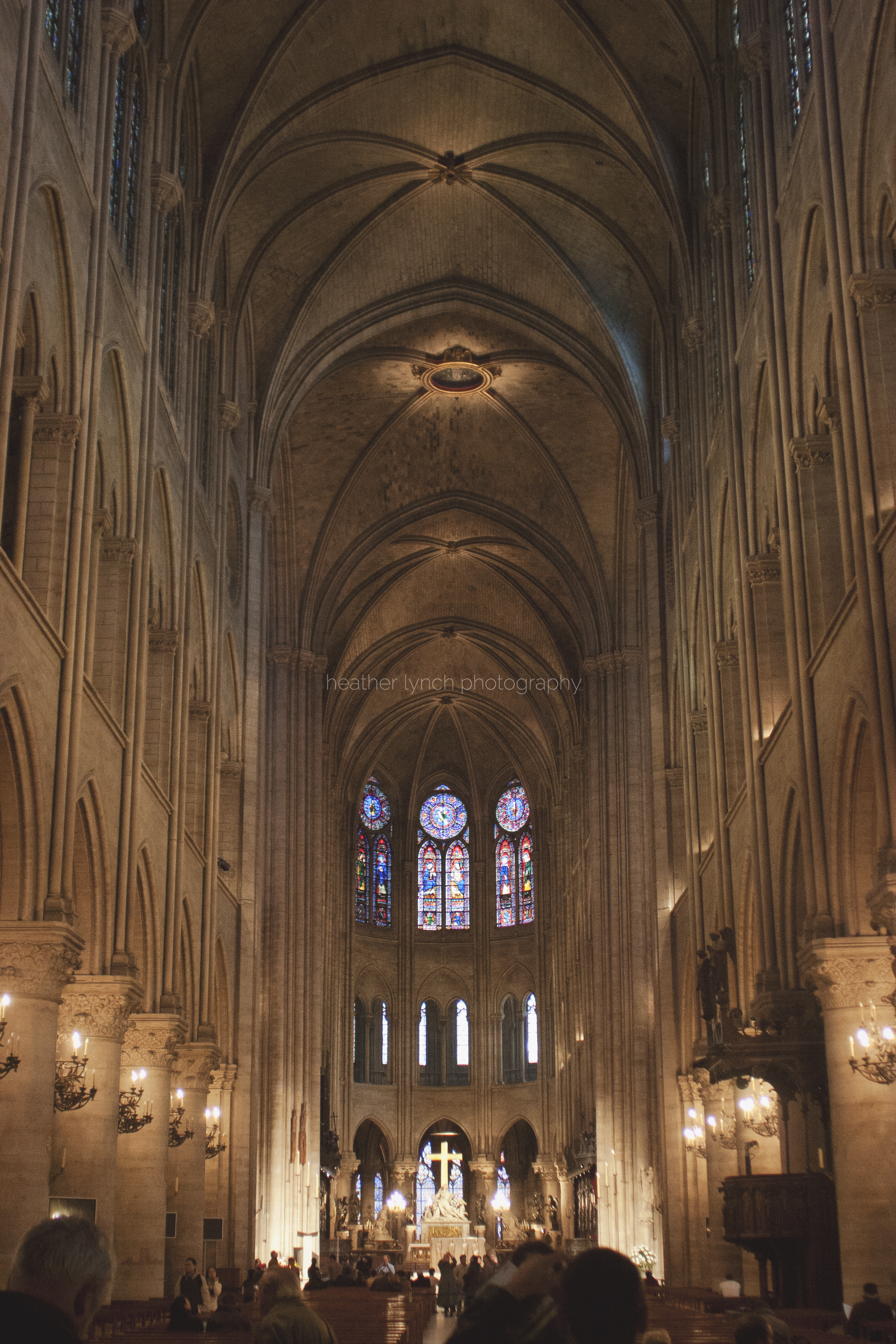 Interior of Notre Dame, looking toward the altar.