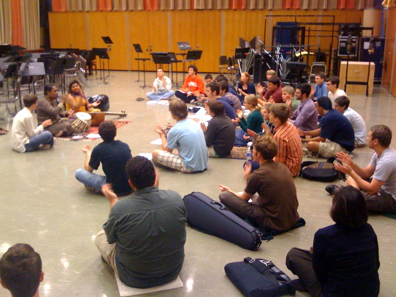Dan facilitating a workshop for percussion students at the University of Michigan with tabla maestro Pandit Samar Saha