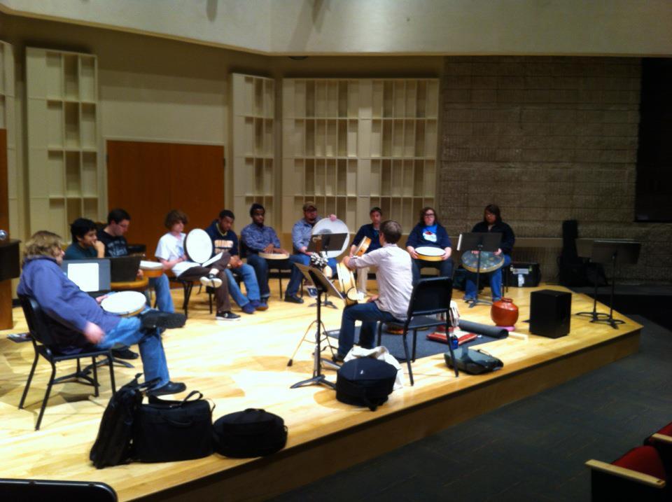 An frame drum workshop at the University of Toledo, 2011