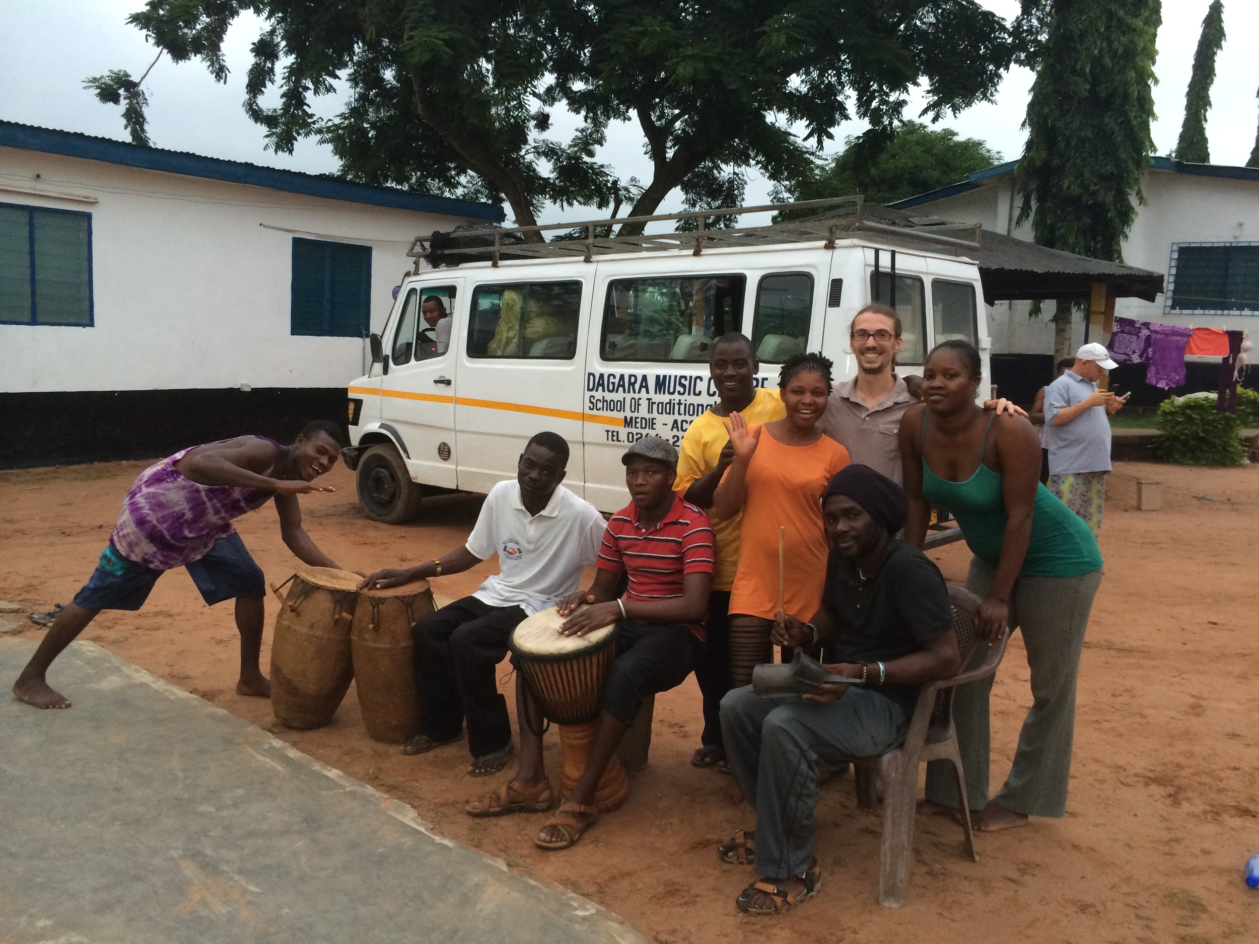Dan with the staff at the Dagara Music Center, Medie, Ghana, 2014