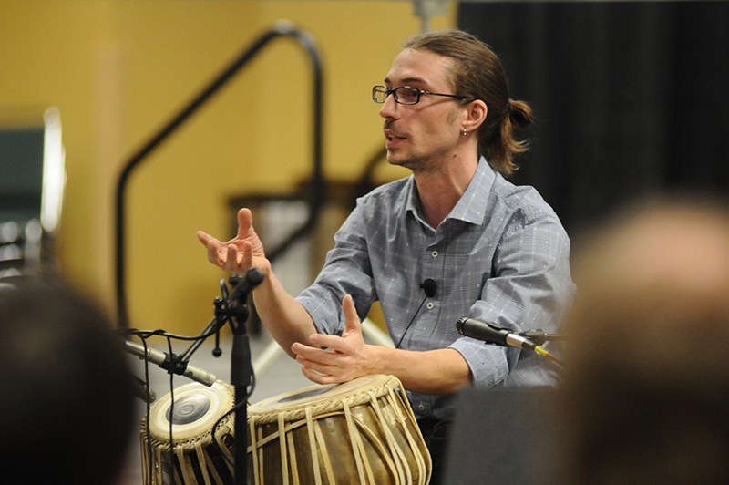 Dan presenting a workshop on the rhythmic systems of India at the Percussive Arts Society International Convention in 2013.
