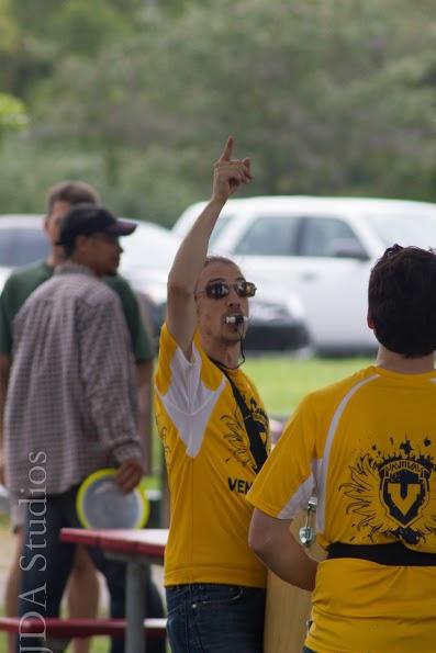 Dan leading Vencedores, the University of Michigan's samba batteria, September 2014.