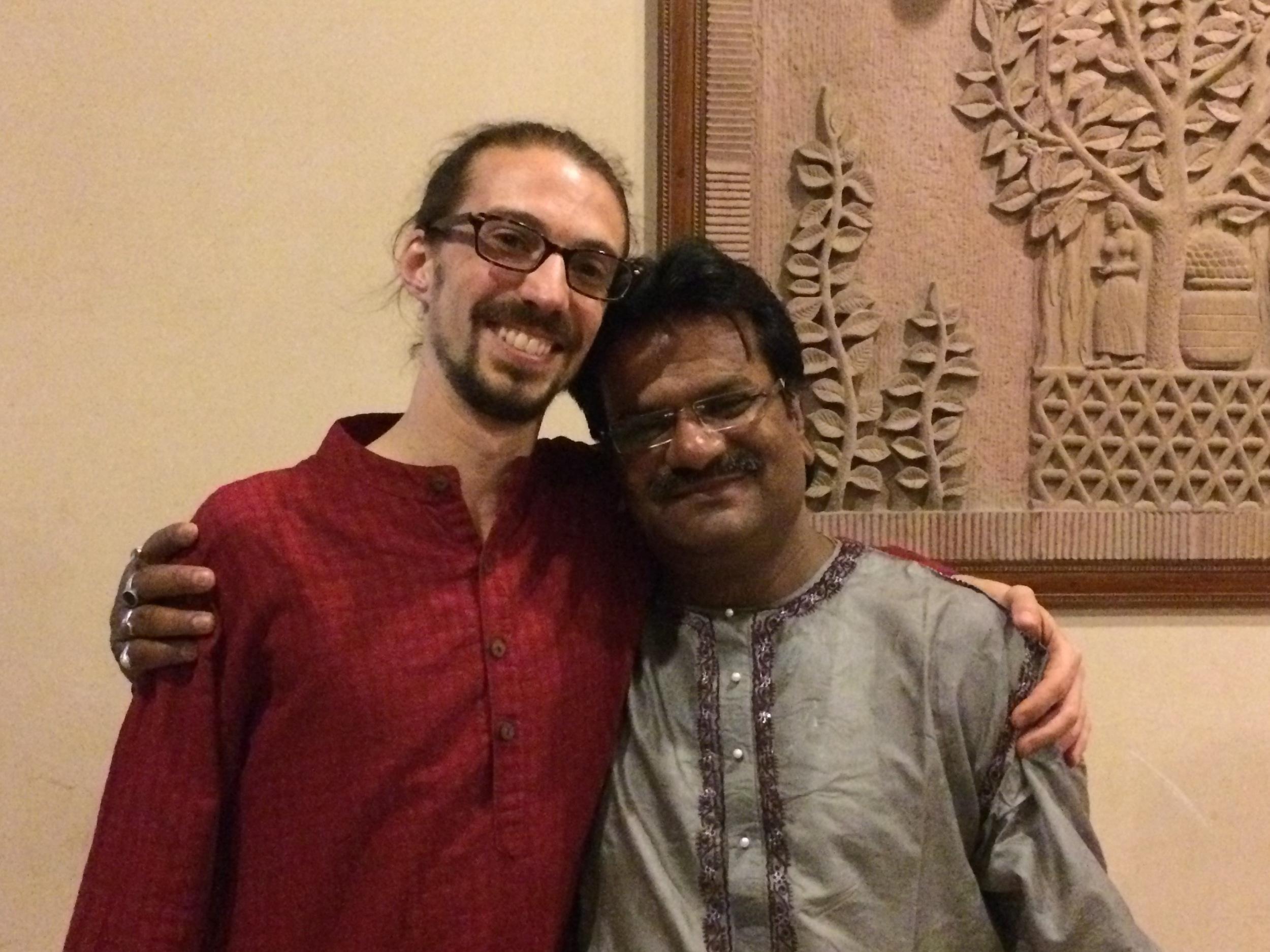 Dan with his tabla guru, PanditKuber Nath Mishra, Varanasi, March 2015.