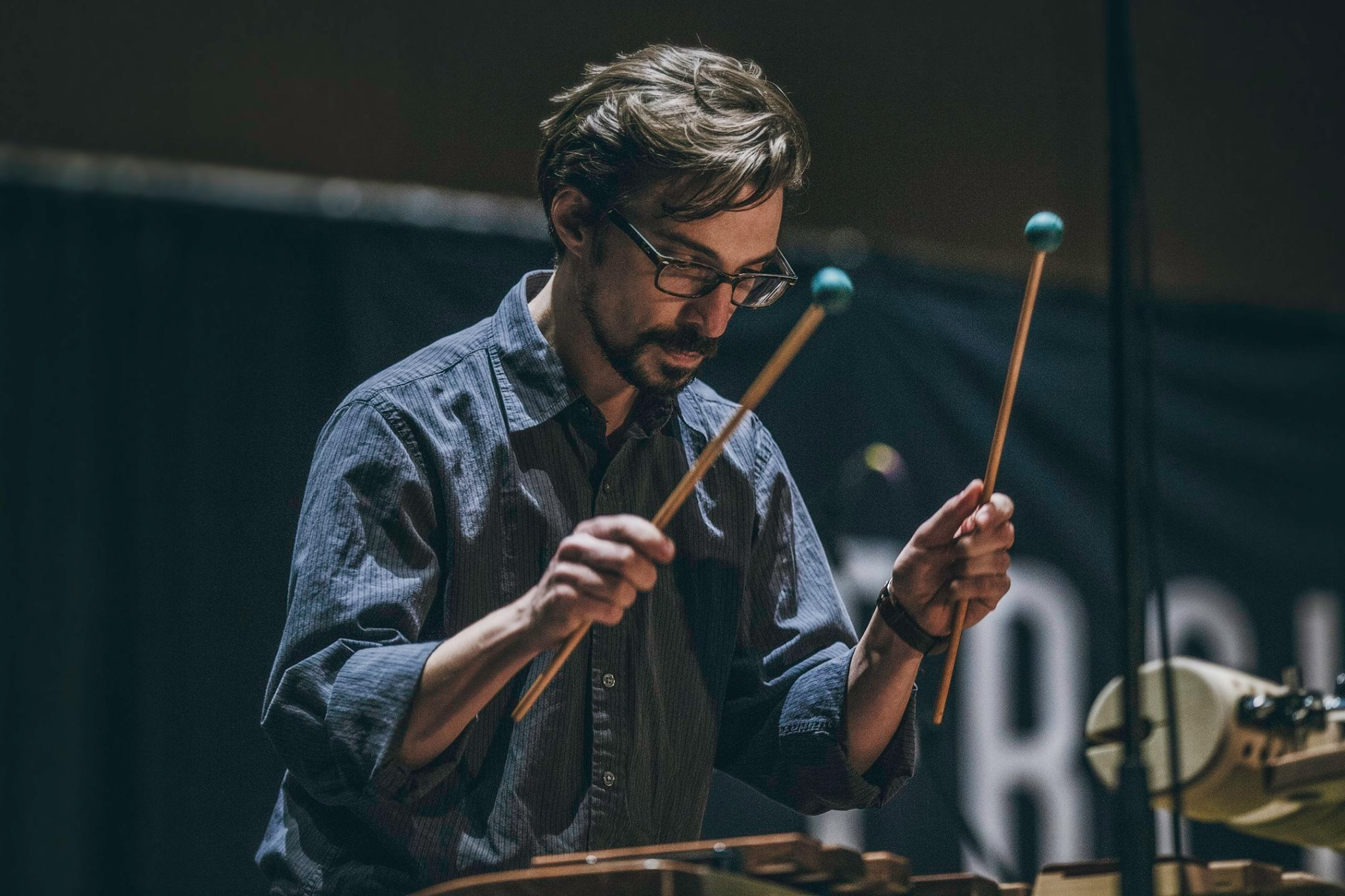 Performing Andriessen's  Woodpecker  at PASIC 2016 in Indianapolis, IN. Photo by Emory Hensley