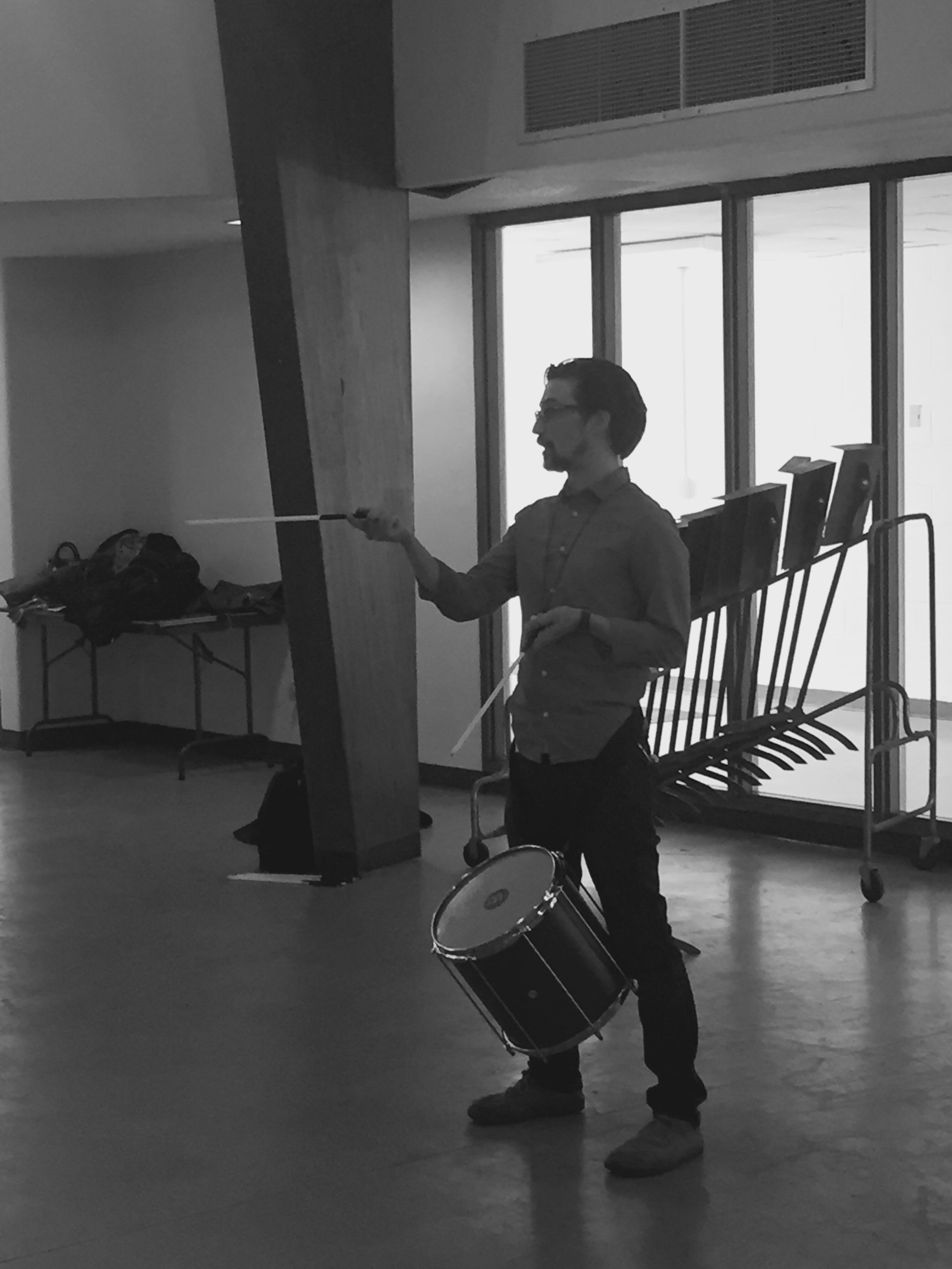 Dan teaching samba reggae at BGSU.