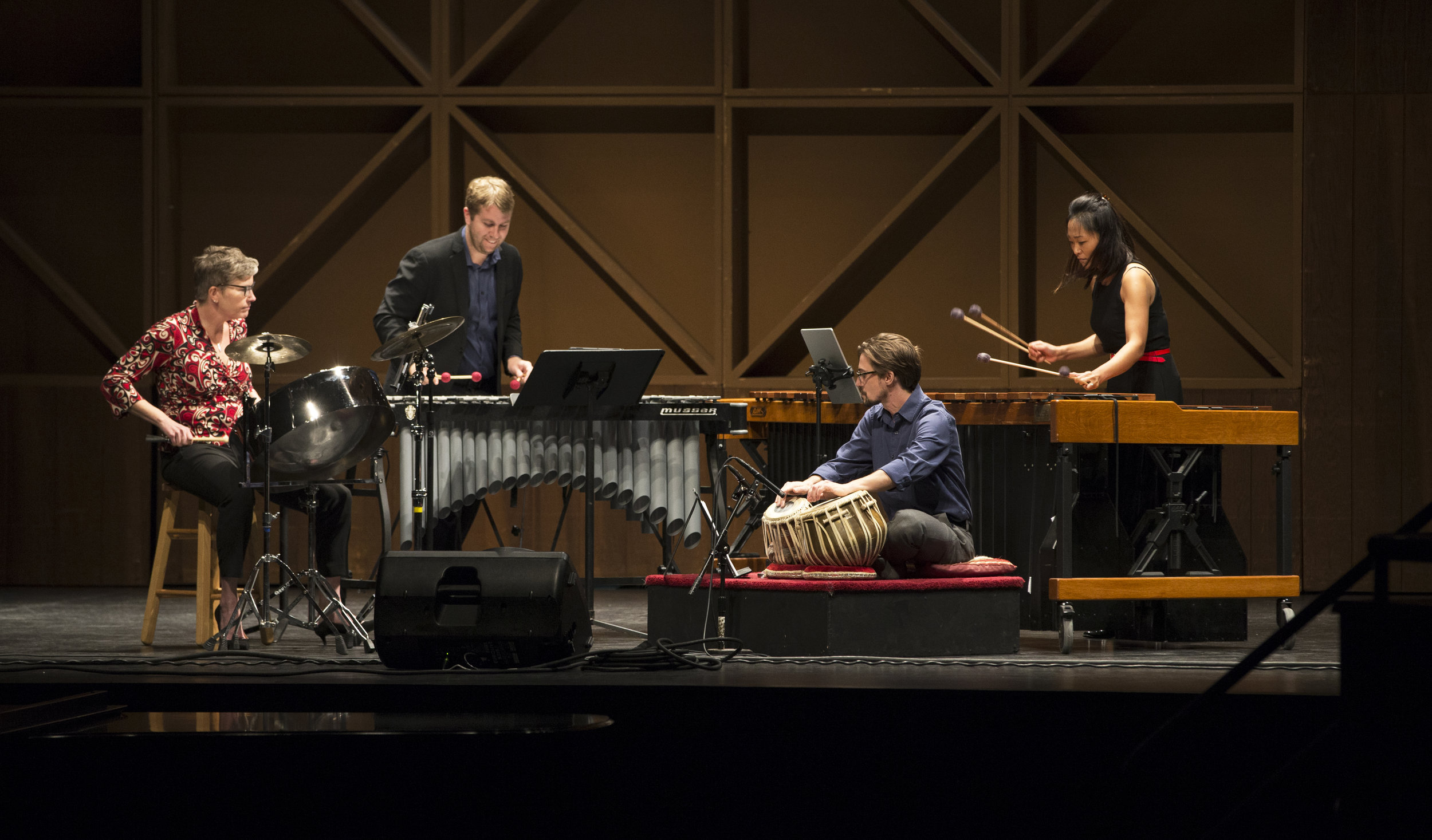 """X4 Percussion Quartet premiering Adam Silverman's """"Spiderweb Lead"""" at the 2018 Bowling Green New Music Festival. Photo Credit: Lindsay Gross"""