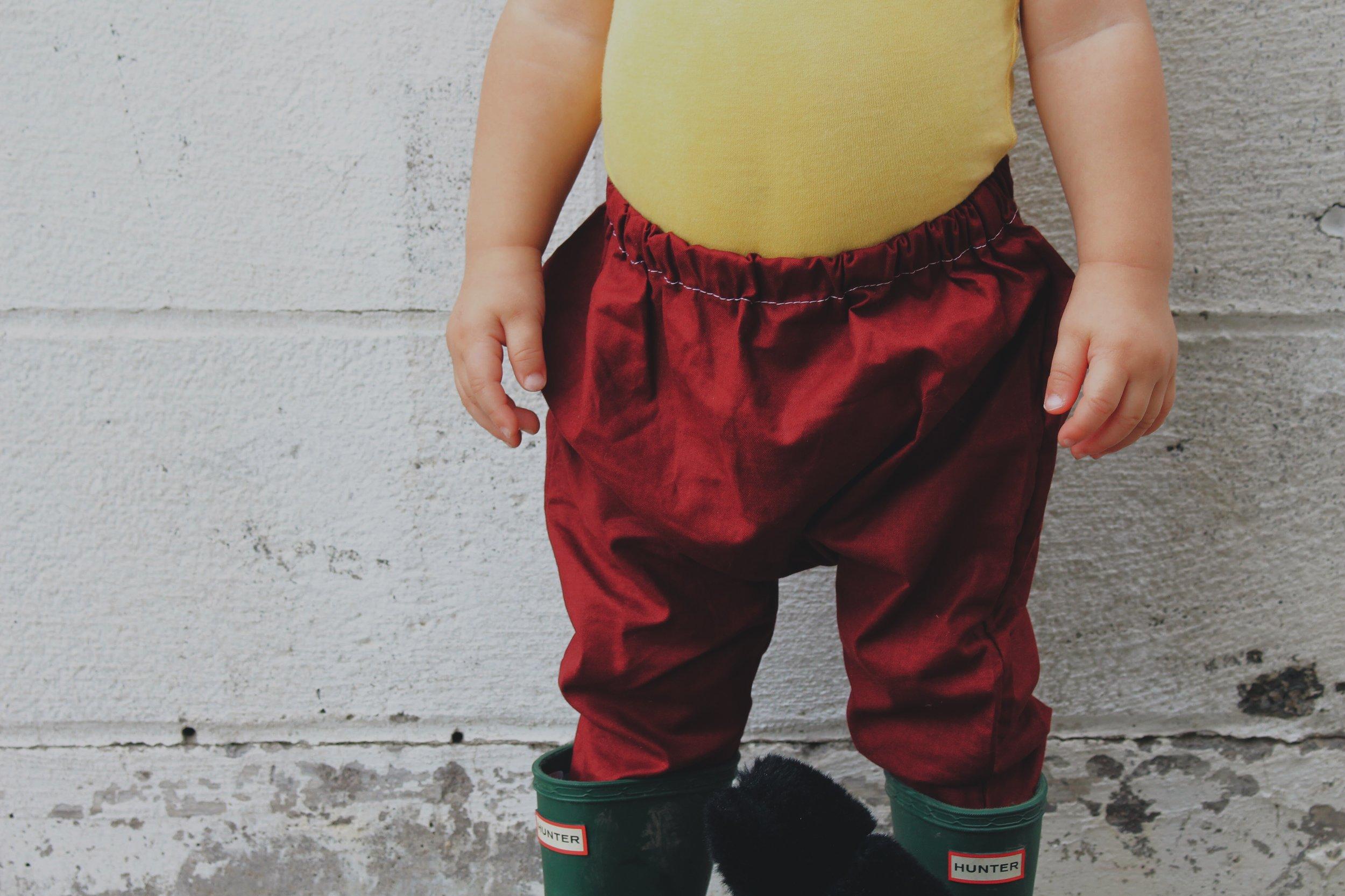 Cotton Harem Pants c/o  Little A Handmade  // Wellies - Hunter Boots // Natural Dyed Onesie - Us