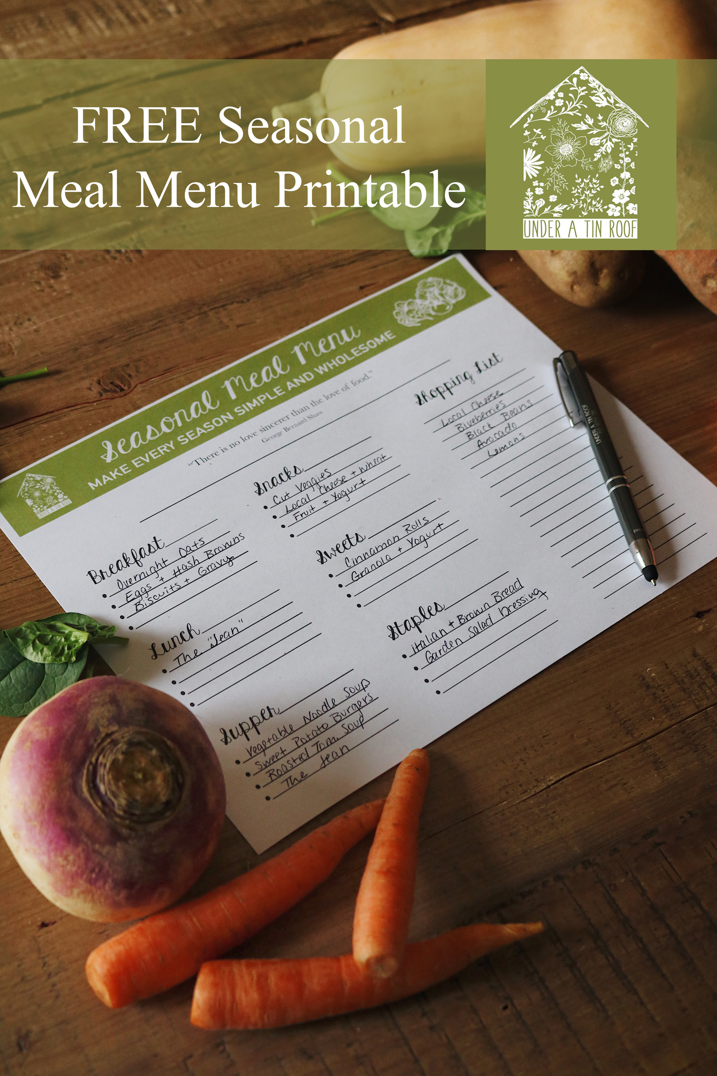 Meal Planning with a Monthly Seasonal Menu + Free Printable - Under A Tin Roof Blog