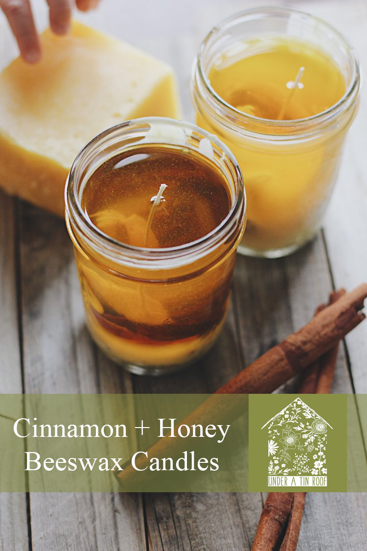 Cinnamon + Honey Beeswax Candles - Under A Tin Roof Blog