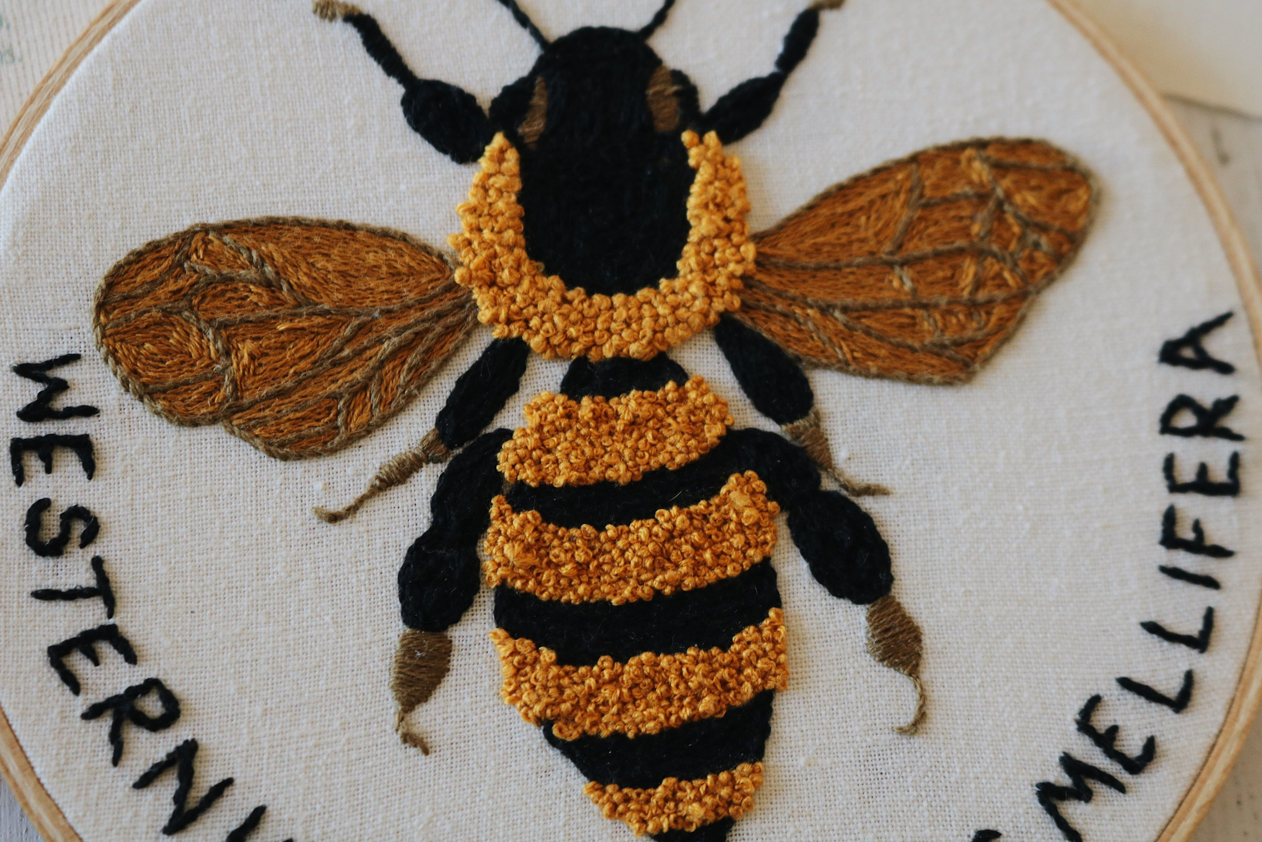 "UATR Embroidery Club: ""Apis Mellifera"" Hoop Introduction - Under A Tin Roof Blog"