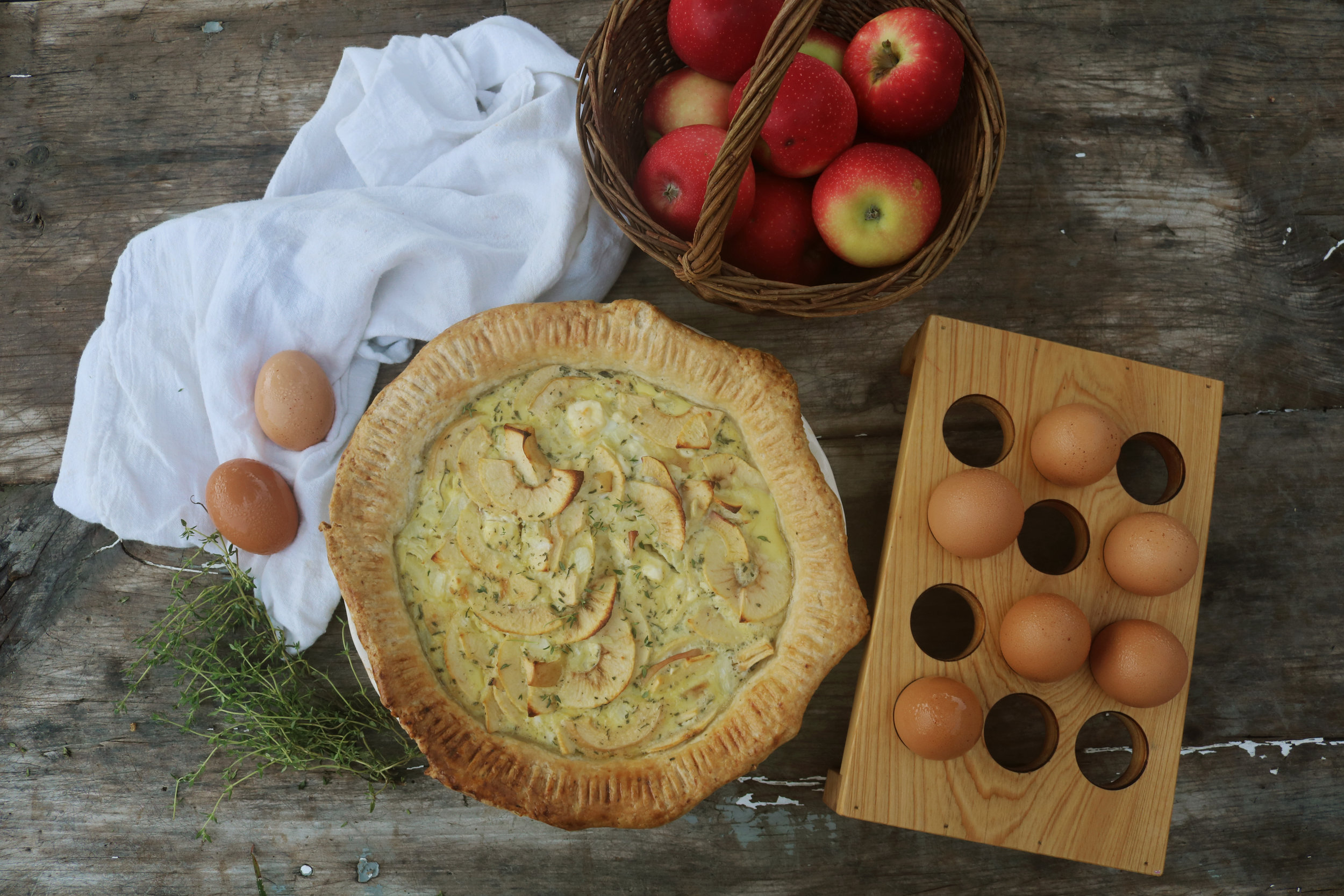 Apple and Goat Cheese Quiche - Under A Tin Roof Blog