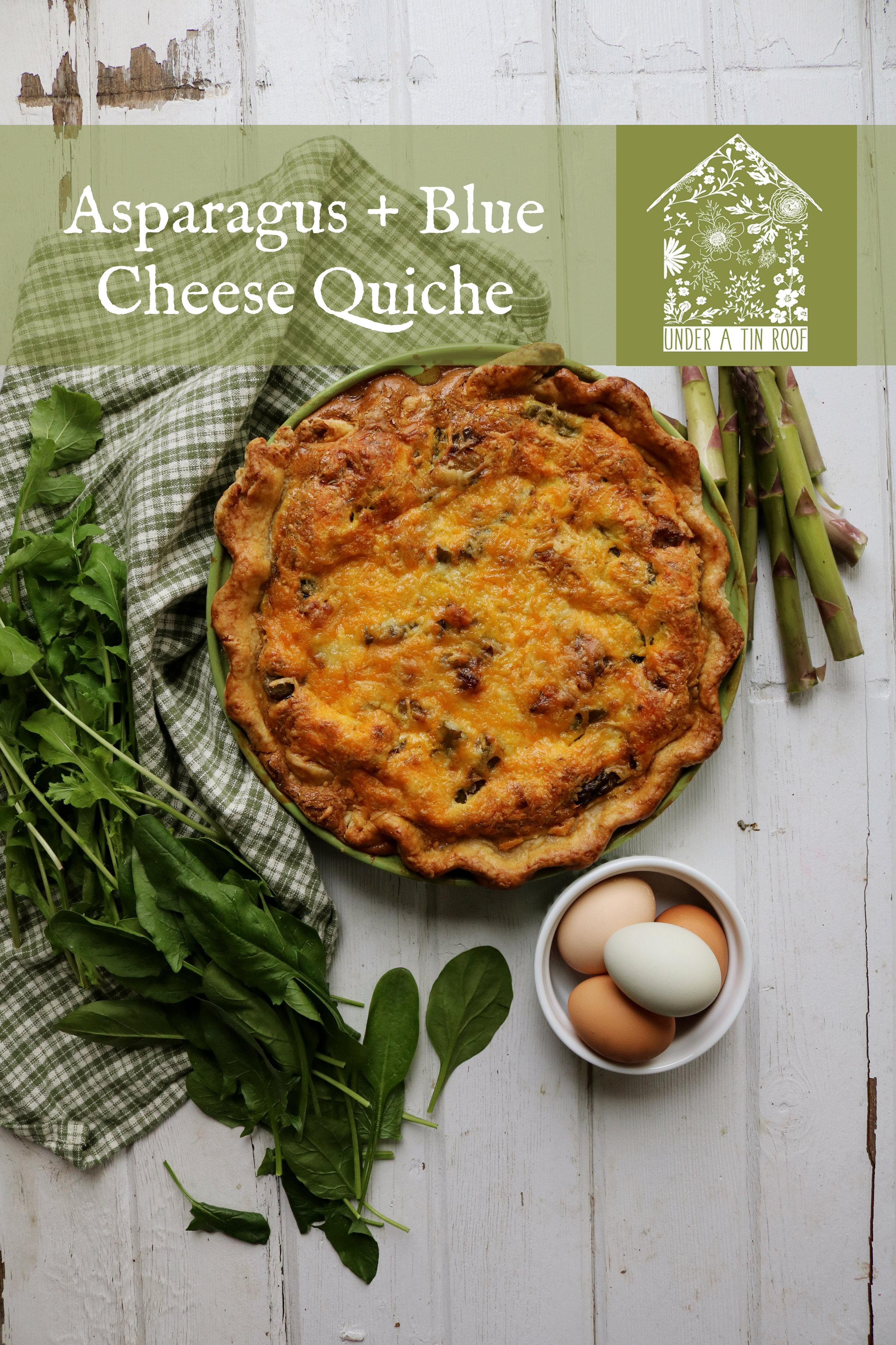 Asparagus & Blue Cheese Quiche - Under A Tin Roof Blog