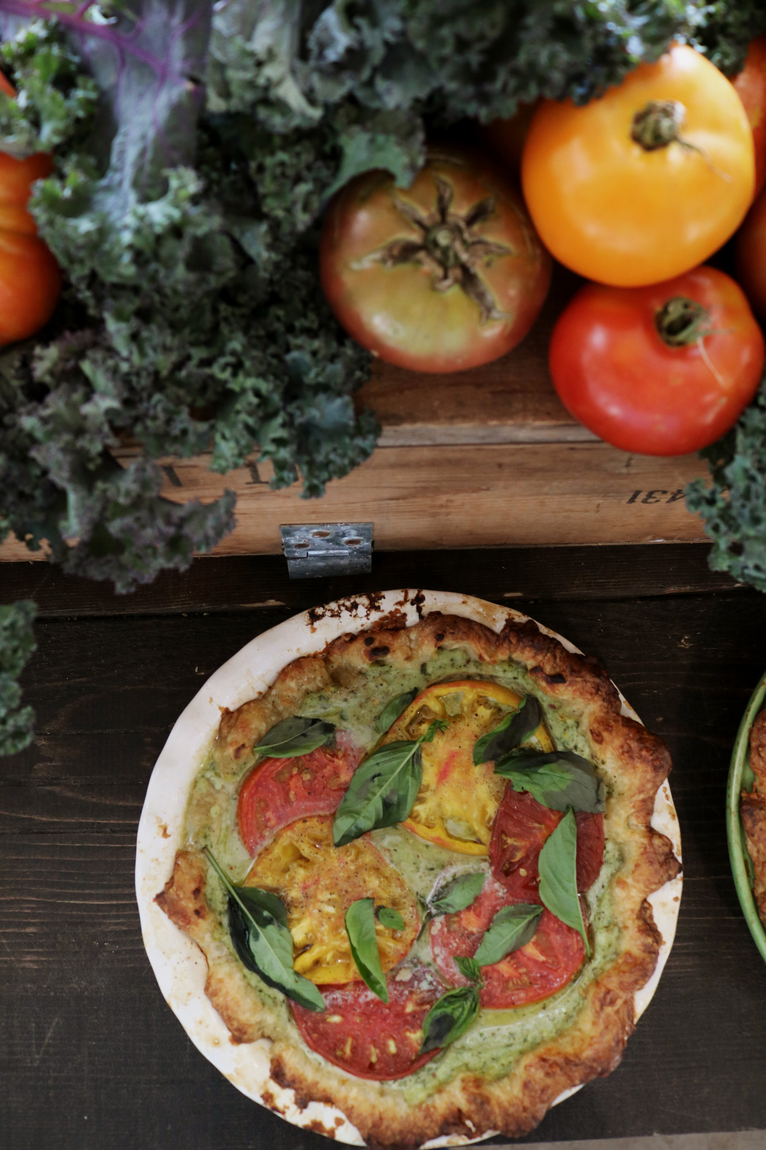 Ricotta & Basil Heirloom Tomato Pie - Under A Tin Roof Blog