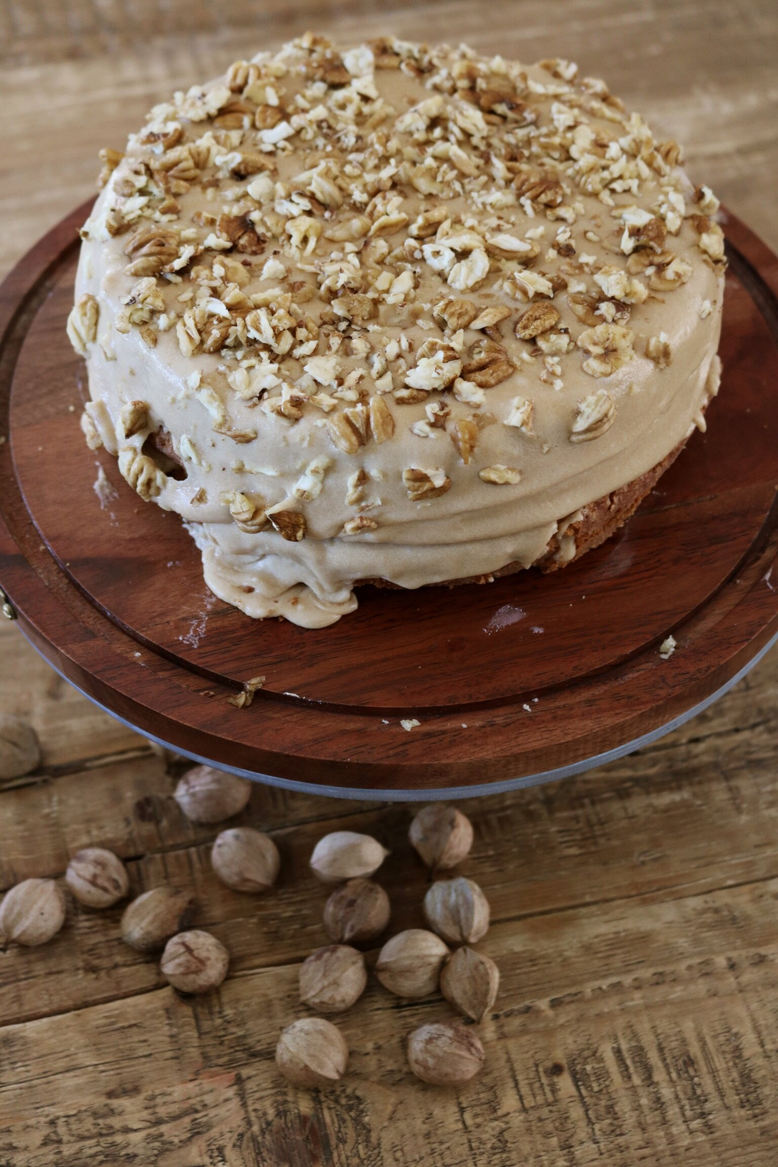 Hickory Nut Cake with Maple Bourbon Frosting - Under A Tin Roof Blog