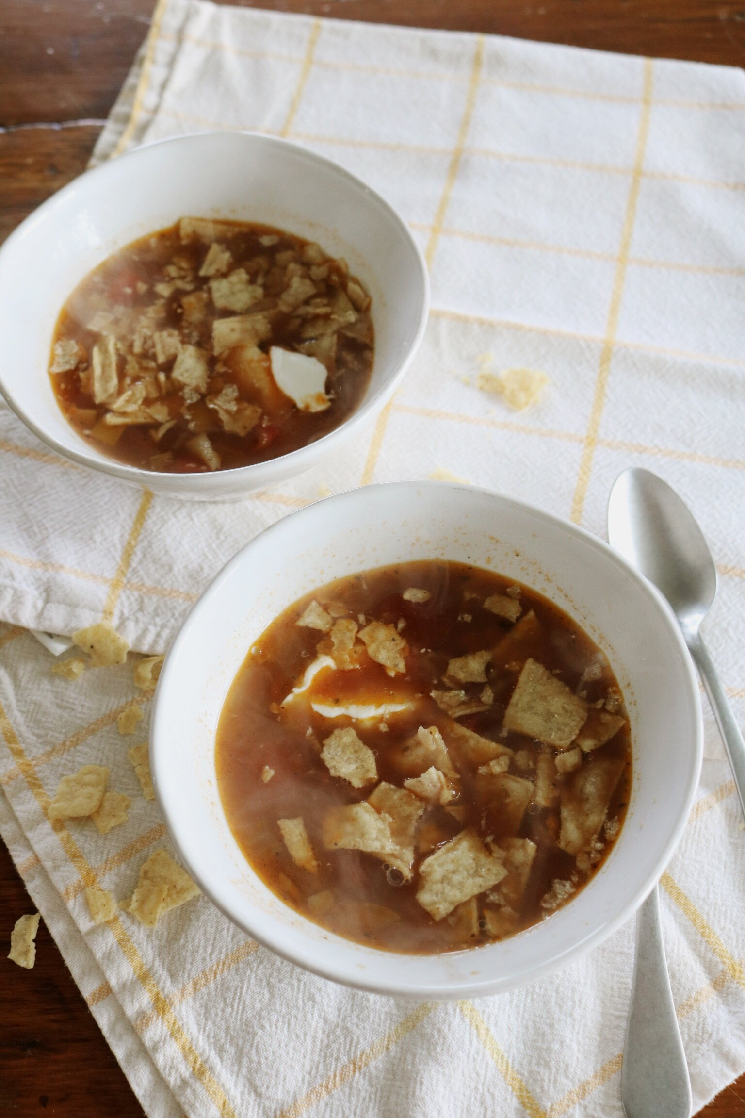 Vegan Creamy Tortilla Soup Under A Tin Roof